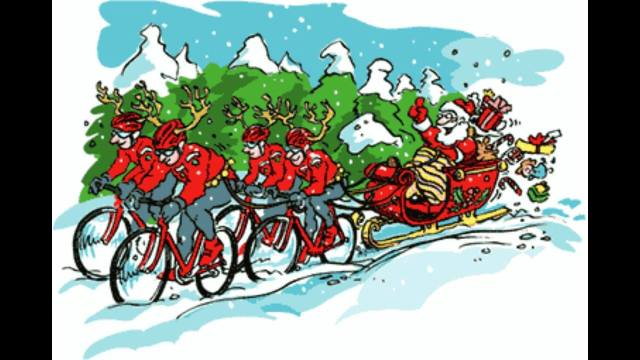 SANTA WITH CYCLISTS